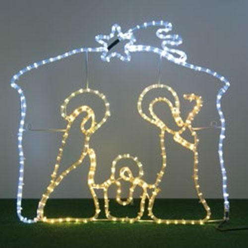 Figura luminosa a forma di Natività natalizia