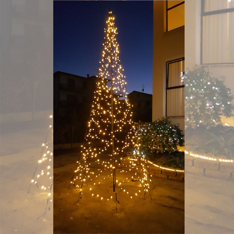 Christmas Tree Facile Montaggio 4,20 Mt 640LED Bianco caldo Flashing